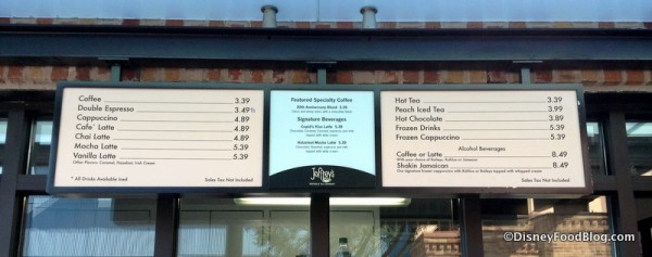 Joffrey's Coffee Kiosk menu