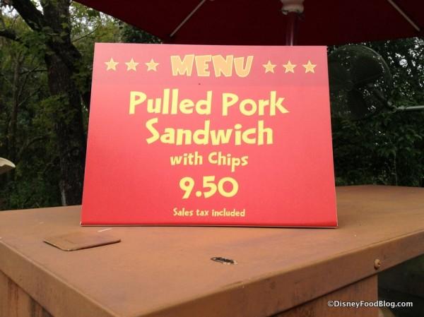 Pulled Pork Sandwich sign