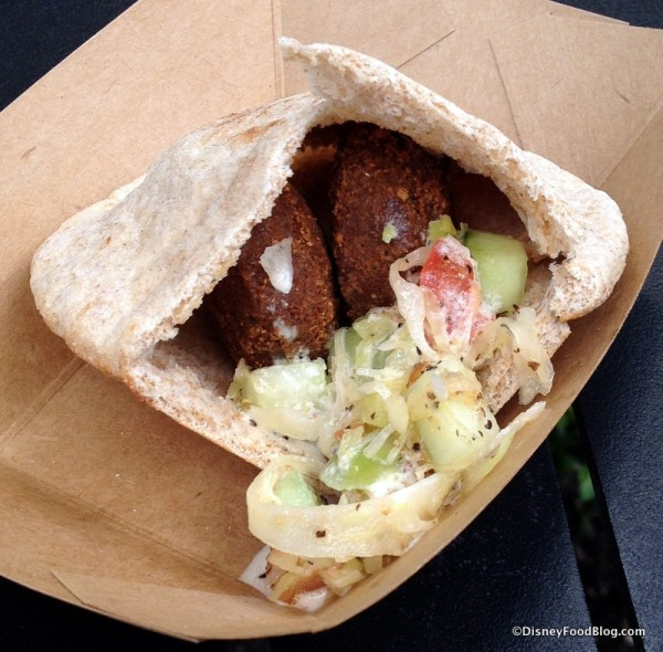 Falafel Pocket with Cucumber Tomato Salad and Tahini Sauce