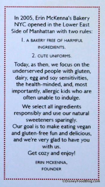 Statement on printed menu