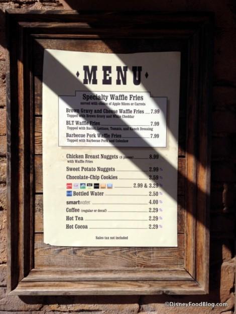 Golden Oak Outpost menu