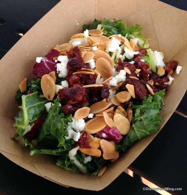 Kale Salad with Dried Cherries, Almonds, and Goat Cheese with White Balsamic Vinaigrette
