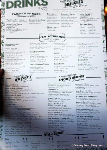 Dinner Menu -- Click to Enlarge