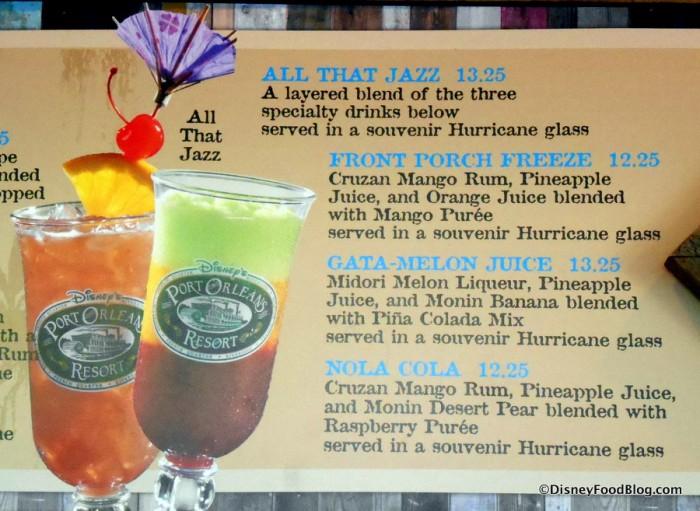 Specialty Drinks Menu