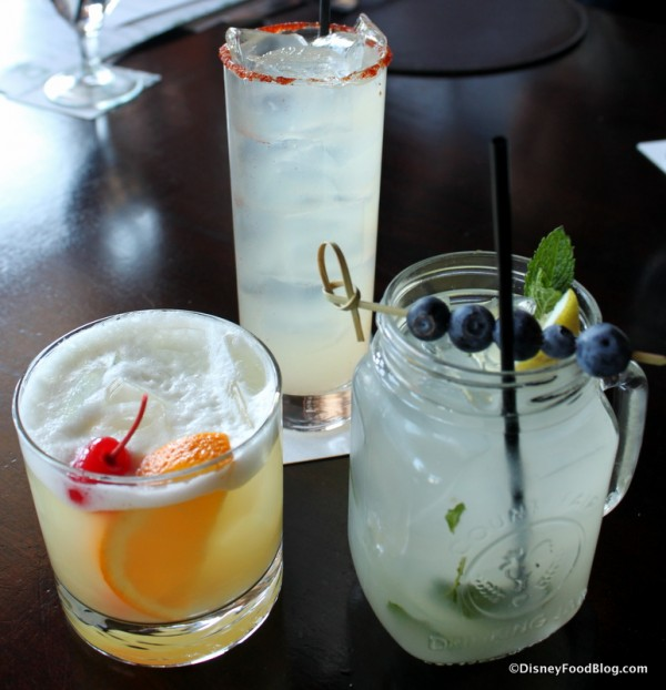 Our Whiskey Sour, Smoking Margarita, and Blueberry Mint Lemonade