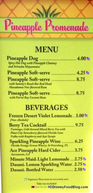 Pineapple Promenade menu flower and garden festival 2015-001