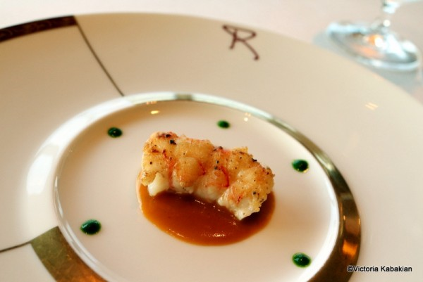 Langoustine with lobster bisque and lettuce reduction