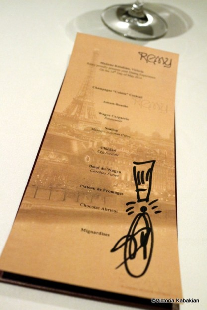 Personalized signed menu