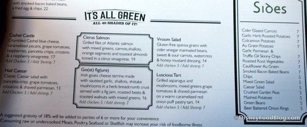 Menu -- Salads and Sides -- Click to Enlarge