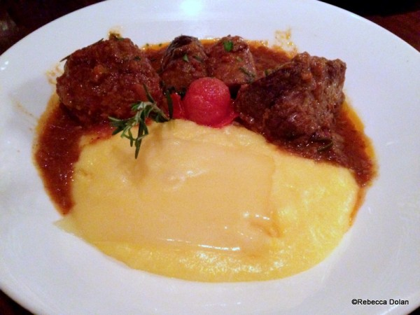 Polenta with sausage, meatballs, and short ribs