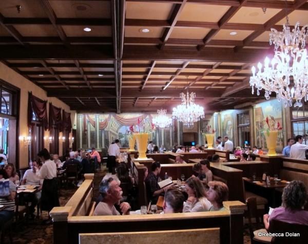 Inside the no-frills dining room