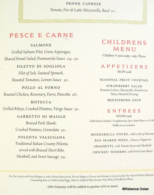 Entrees and Children's Menu