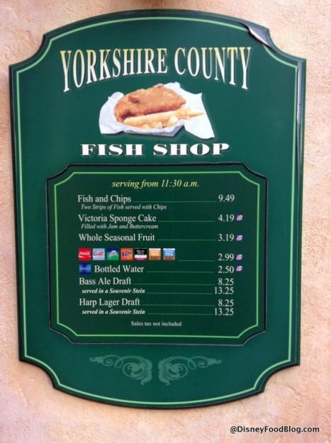 Yorkshire County Fish Shop menu