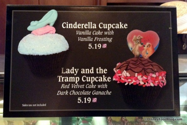 Cupcake sign and descriptions