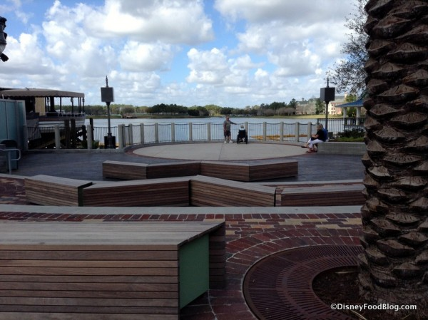 Seating area beside The Boathouse