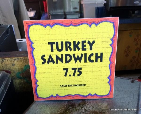 Turkey Sandwich sign at Drinkwallah