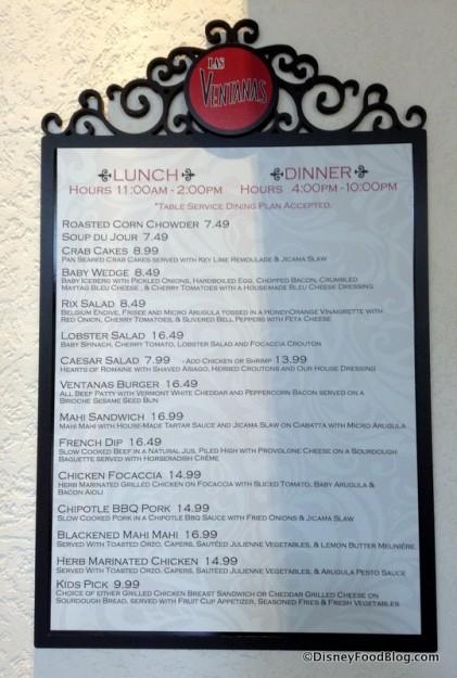 Las Ventanas Lunch and Dinner menu