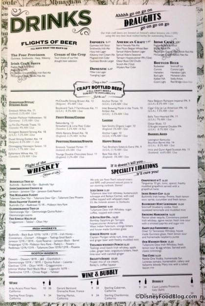 Raglan Road Drinks menu