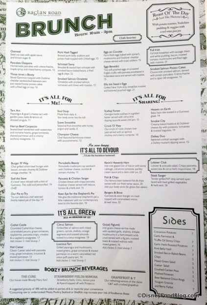 Raglan Road Brunch menu