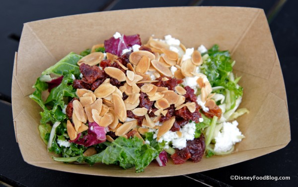 Kale Salad with Dried Cherries, Almonds, Goat Cheese and White Balsamic Vinaigrette