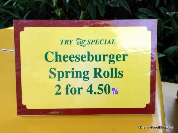 Cheeseburger Spring Rolls sign