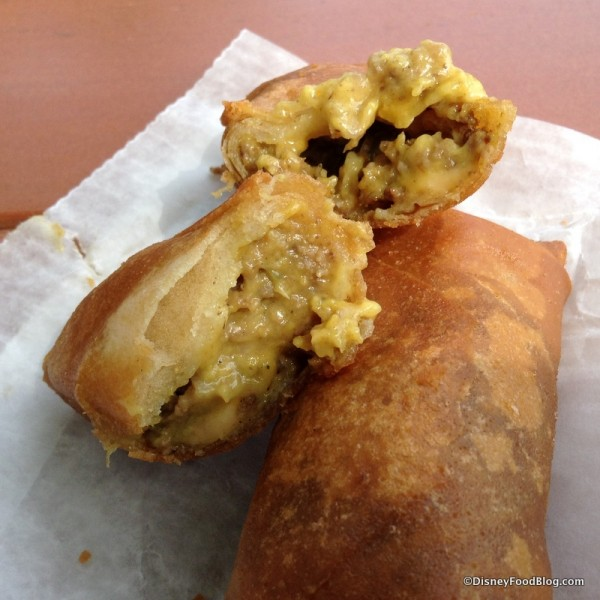 Cross section of Cheeseburger Spring Rolls