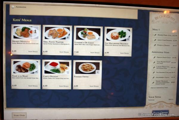 Digital Touchscreen Kiosk Menu -- Kids' Meals