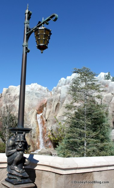 Gargoyle Light Post and Waterfall