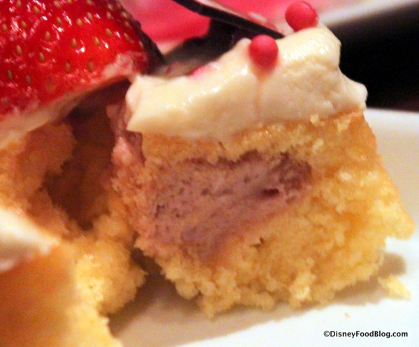 Strawberry Cream Cheese Cupcake -- Inside