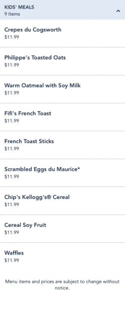 Be Our Guest Breakfast Kids Entrees