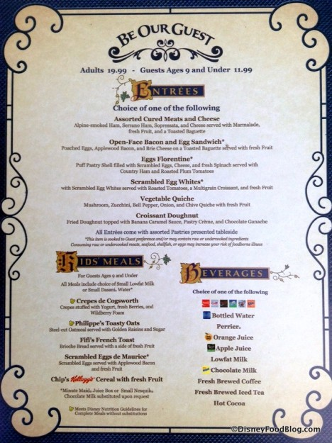 Be Our Guest Restaurant Breakfast Menu