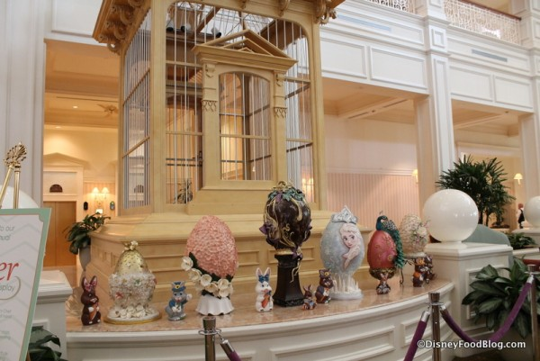 Eggs are on display in various areas throughout the lobby