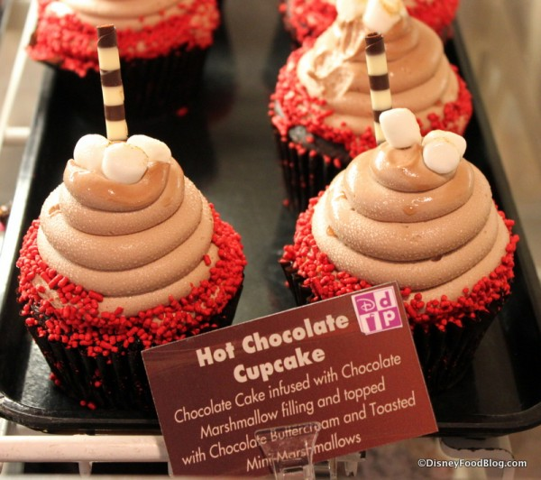 Hot Chocolate Cupcake -- In the Case, with Description