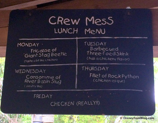 Regular Crew Mess Menu