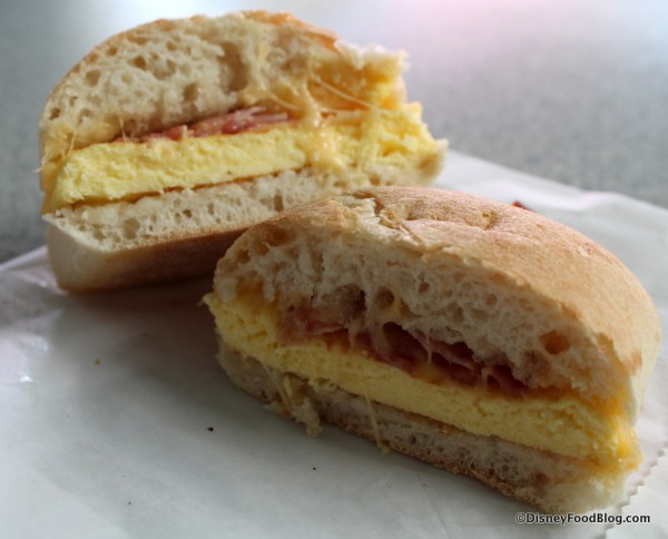 Bacon and Gouda Artisan Breakfast Sandwich cross section