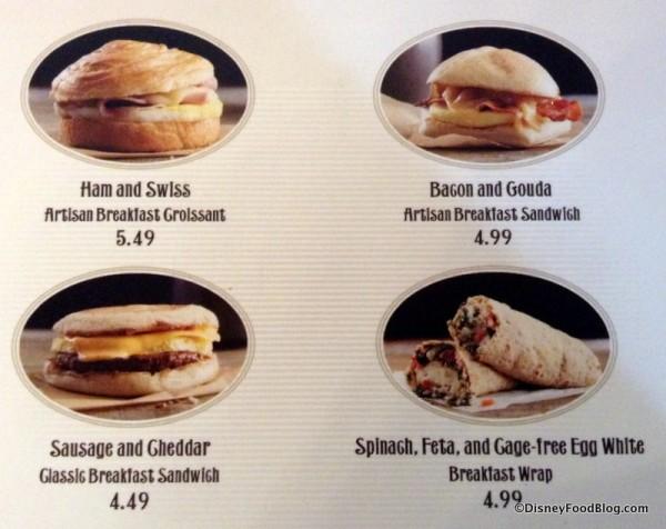 Breakfast sandwich menu
