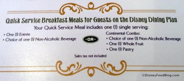 Main StreetBakery Dining Plan entitlements