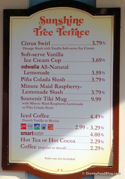 NEW Sunshine Tree Terrace Menu -- Click to Enlarge