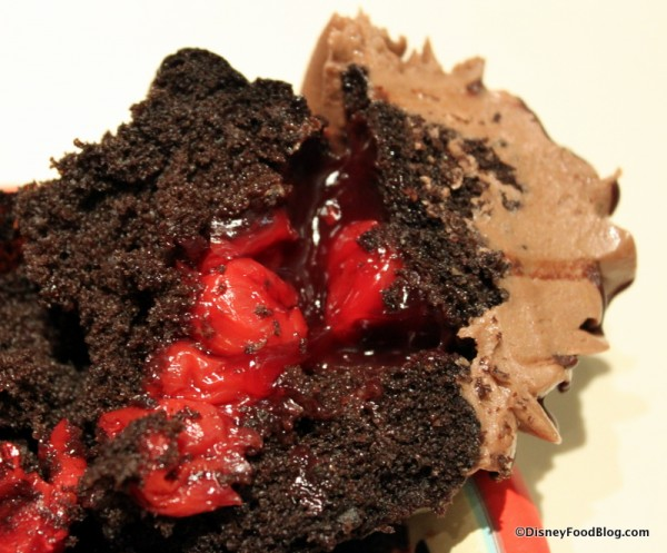 Chocolate Covered Cherry Cupcake -- Cross Section