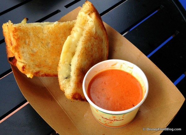 Gruyere and Applewood Smoked Bacon Grilled Cheese Sandwich with Side of Tomato Basil Soup