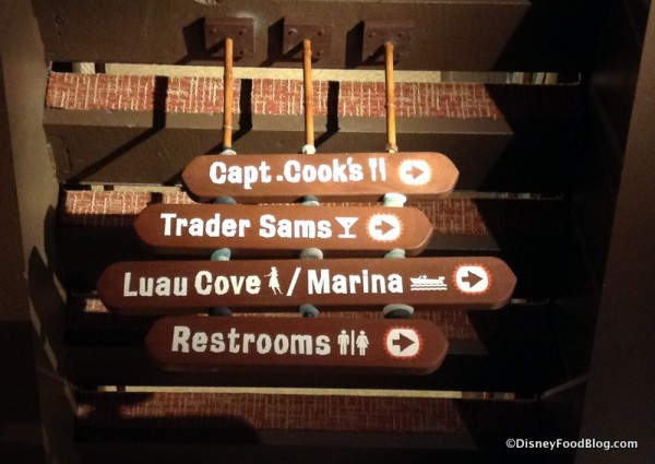 Updated Dining Location Direction Sign with Trader Sam's