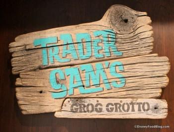 Trader Sam's door sign