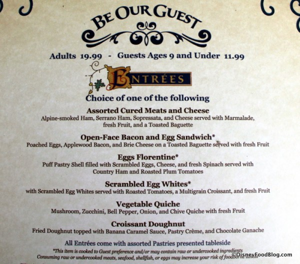Be Our Guest Breakfast menu