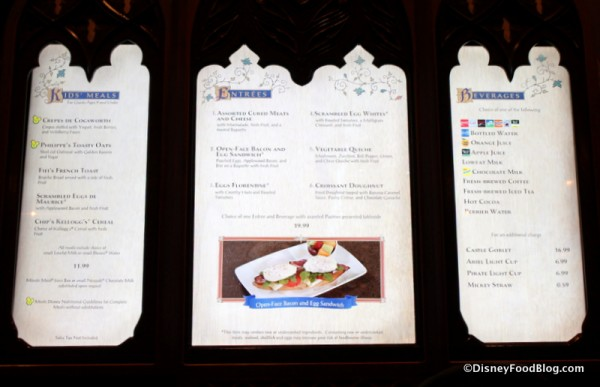 Breakfast menu on display