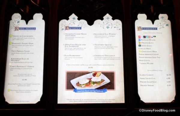 Breakfast menu on display