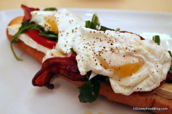 Closeup on Open-Face Bacon and Egg Sandwich