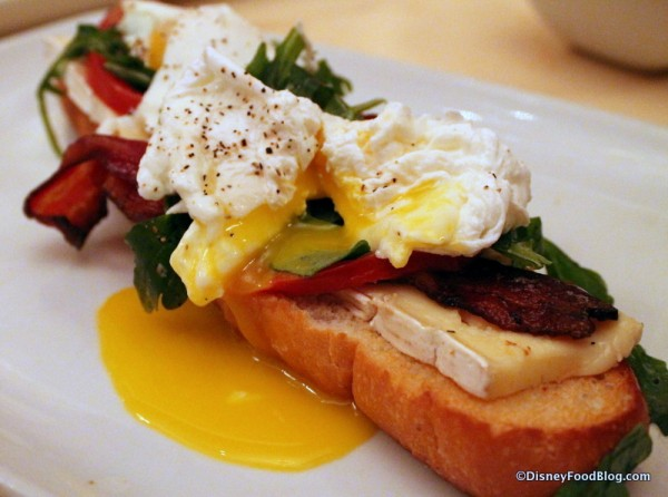 Open-Face Bacon and Egg Sandwich for Breakfast at Be Our Guest