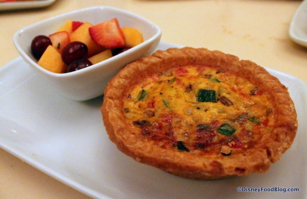 Vegetable Quiche served with fresh fruit