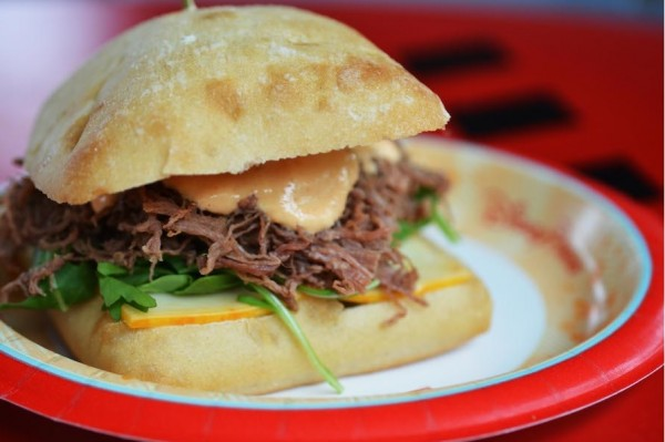 braised pulled brisket sandwich