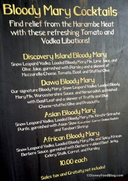 Bloody Mary menu